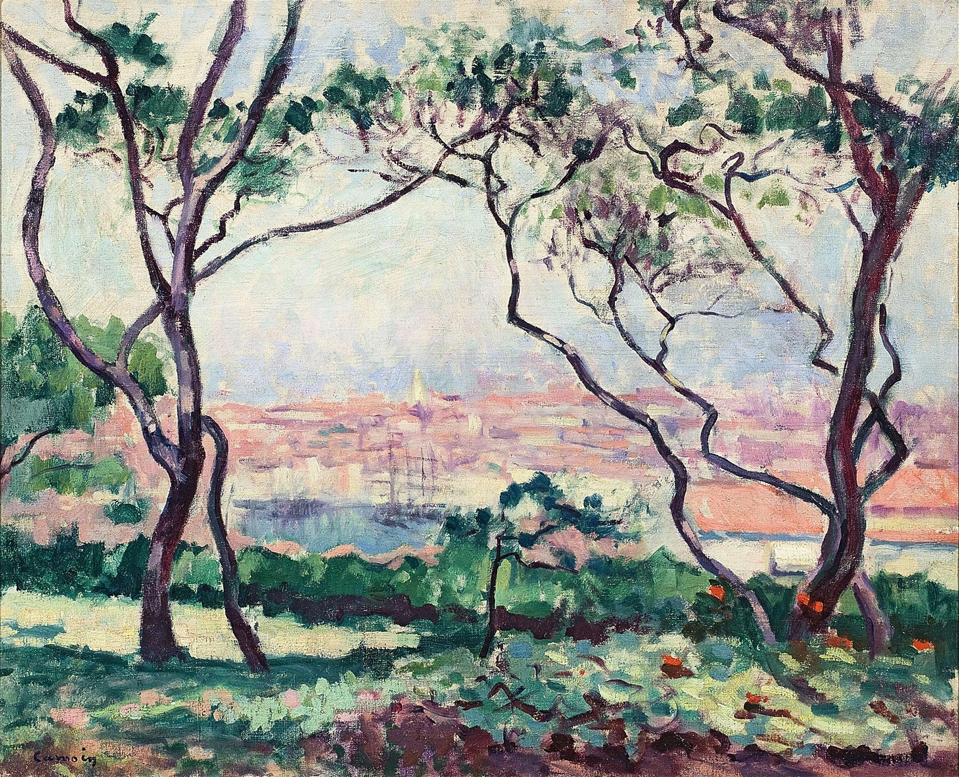 Port de Marseille du haut des jardins de la colline