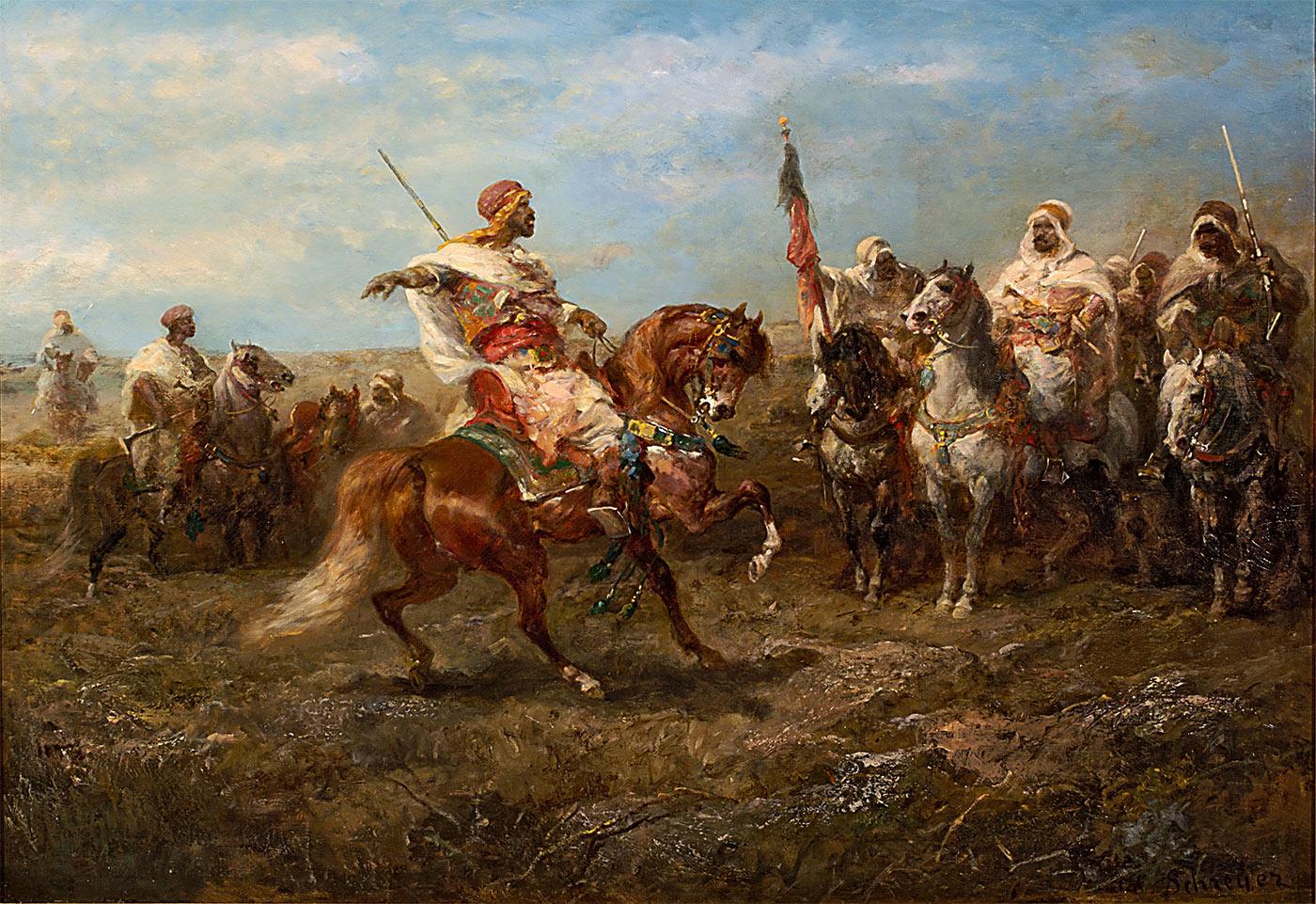 Chef arabe avec ses cavaliers