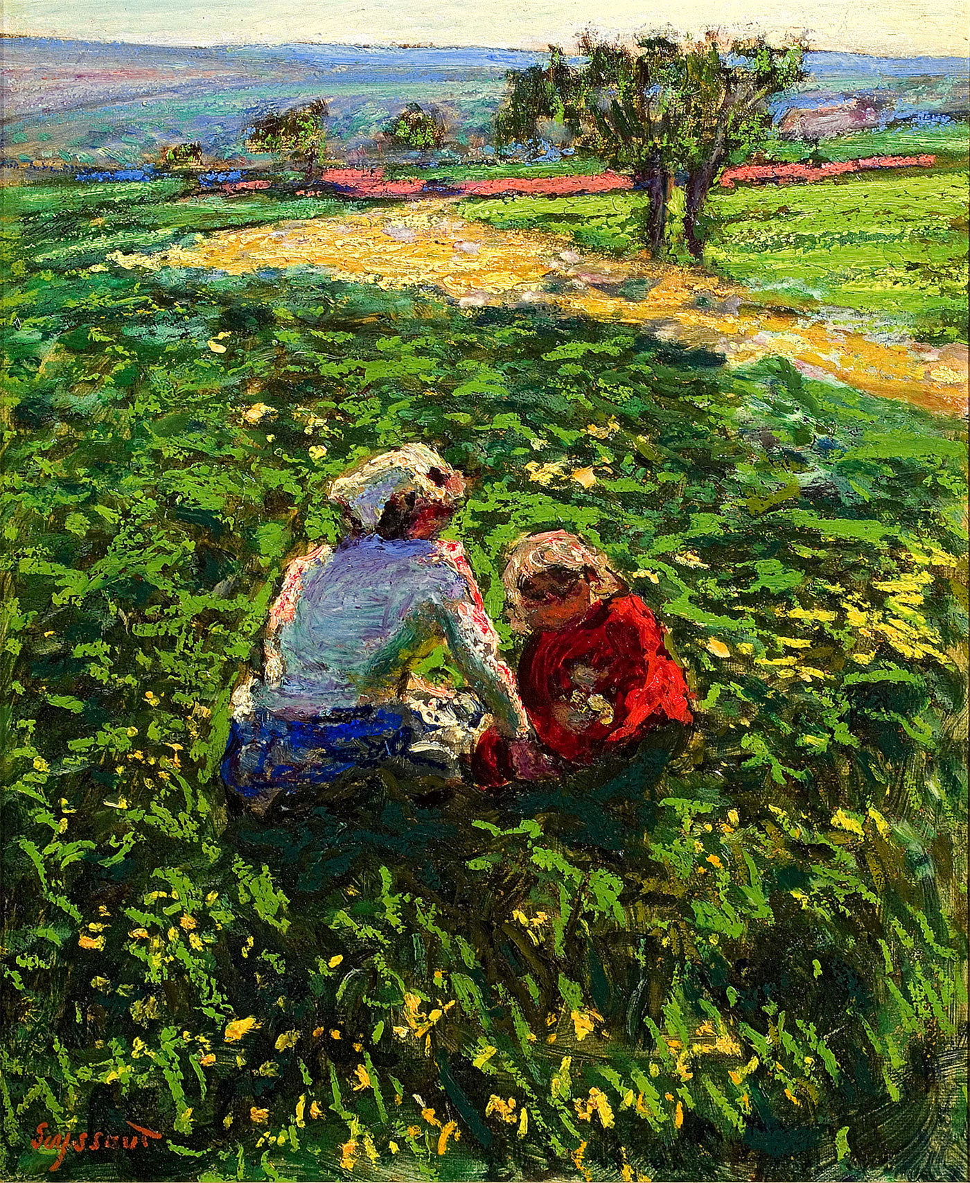 Mère et enfants dans les champs