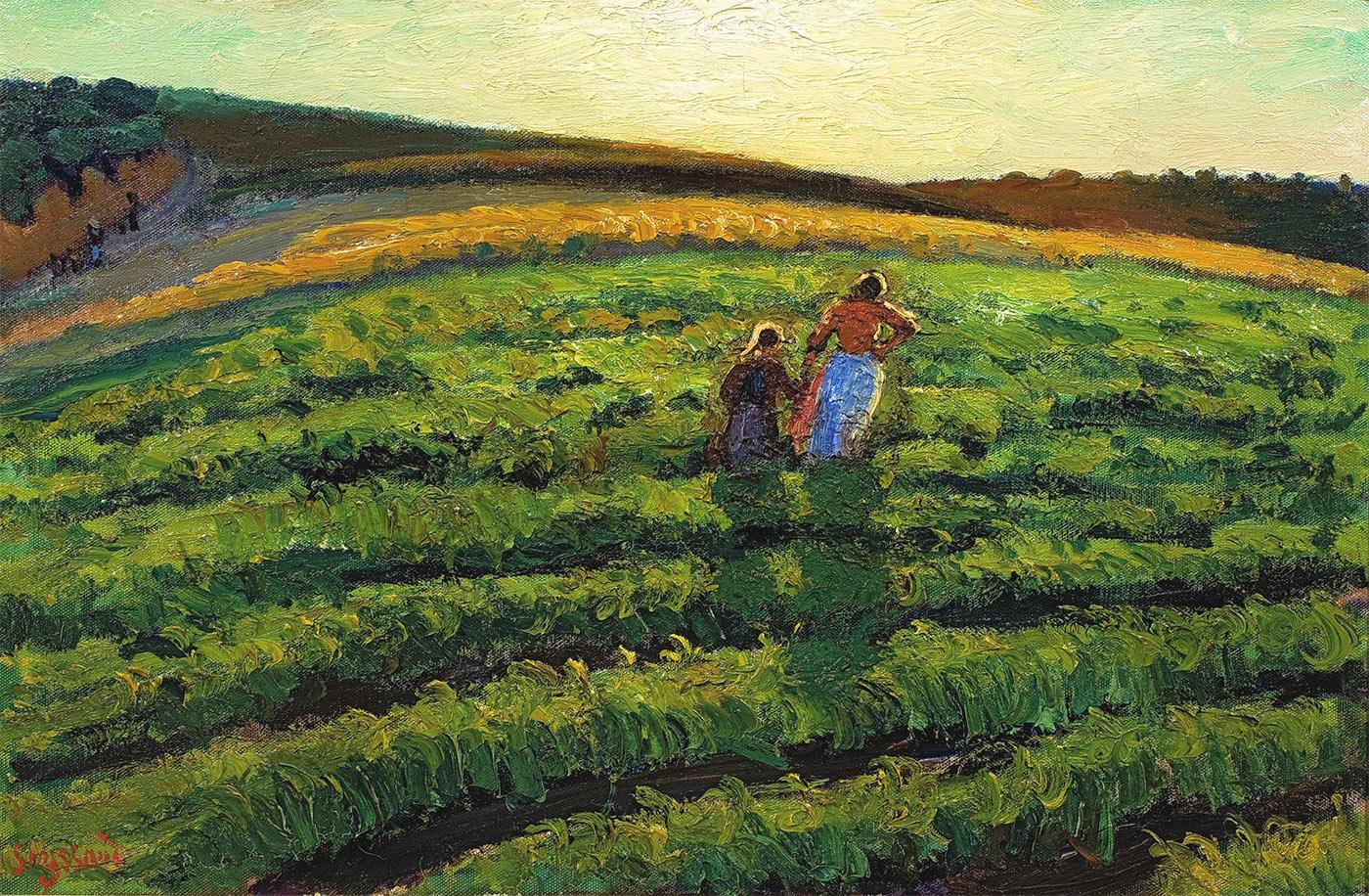 Mère et fille dans les champs, St Chamas