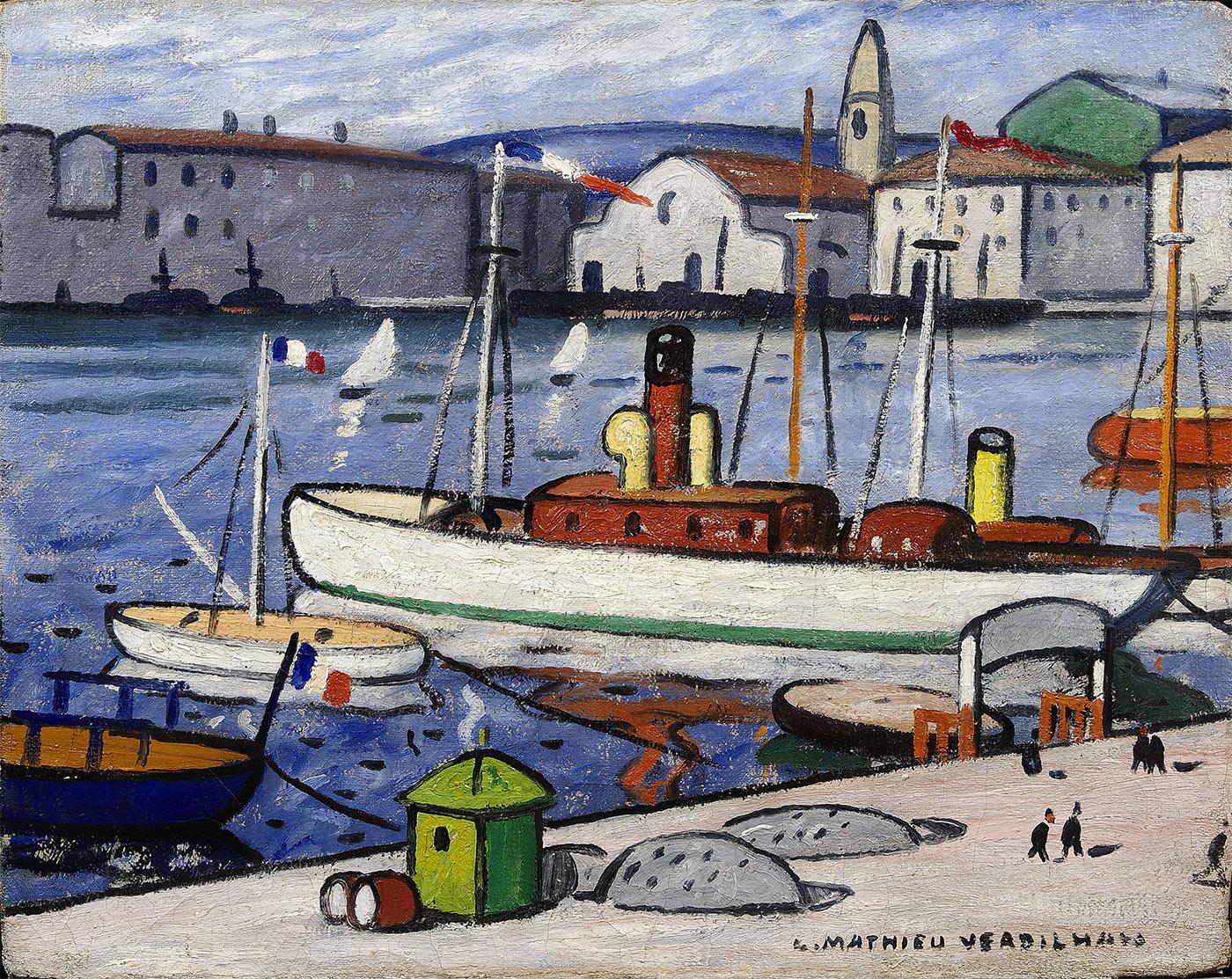 Bateau blanc dans le port de Marseille