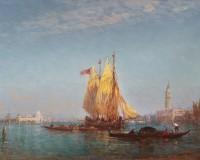 Ziem,-voile-jaune-dans-le-grand-bassin,-Venise_toile_75,5x110