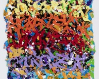 007 2015-5 Minutes, acrylique et encre sur toile, 145 x 145