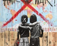 JEF AEROSOL hate and war 160x120cm