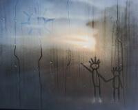 8h18, En campagne, 100x100cm, Acrylique sur toile et plexiglas, 2017 2400