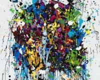 2017-Shine Bright, acrylique, encre et Posca sur toile, 150 x 150 cm 2400