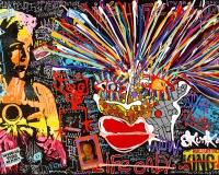 WODZ MOON QUEEN , Techniques mixtes sur toile ,195 x 114 cm 6900Ôé¼