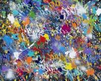2018-Escapes, acrylique, encre et Posca sur toile, 118 x 118 cm