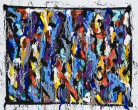 2019-Hidden Treasures, acrylique et encre sur toile, 156 x 200 cm