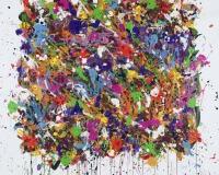 2019-The Stories Of Kings And Queens, acrylique, encre et Posca sur toile, 195 x 195 cm