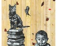 Books , Cat , Bird and Baby Wood 160x110cm Prix 9500Ôé¼