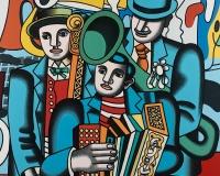 ERRO L'Orchestre avec 3 profil toile 1987 195x130 Prix 85000€