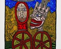 Les deux personnages à roulettes, 1988 Acrylique sur toile 147x107 cm répertorié dans les archives Robert Combas sous le n°6759 95