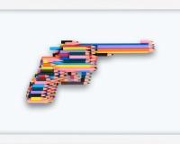 _Série crayons not carnage , RUGER GP100 (3_10) 2020, Série crayon's not Carnage 42x28x4.5cm Prix 3400€