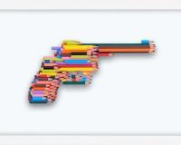 _Série crayons not carnage , RUGER GP100 (7_10) 2020, Série crayon's not Carnage 42x28x4.5cm Prix 3400€