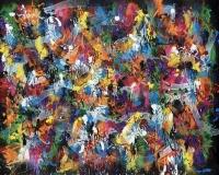 Zephyr Warm Heart, acrylique et bombe aÔÇÜrosol sur toile, 153 x 208 cm