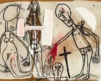 Michel Macréau , La guerre Sainte , 1987 Fusain et huile sur Isorel 130x181cm Exposition_ Paris, Galerie Alain Margaron, __Macréau__, 1999, reproduit en couleur au catalogue sous le n°80 Prix 37000€