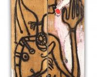 Sans Titre ,Palissade 1987, Huile sur bois 124x41cm signé des initiales m.m 87prix 27500€