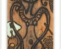 9_ Sans Titre ,Palissade 1987, Huile sur bois 138x43cm signé des initiales m.m 87prix 27500€