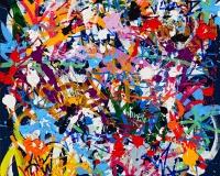 31113 - 2016-Break Ups, acrylique, encre et Posca sur toile, 120 x 114 cm (1)